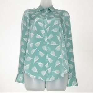 Teal Halloween Broom Button Front Silk top
